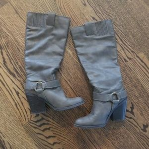 Gray Stacked Heel Boots